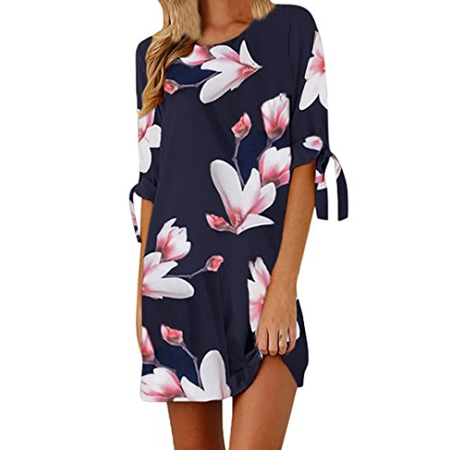 43c105bf68687f Damen Kleid Yesmile Frauen Frühling Sommer Lose Halbe Hülse Minikleid  Blumendruck Bowknot Ärmeln Cocktail Minikleid Casual Party Kleid